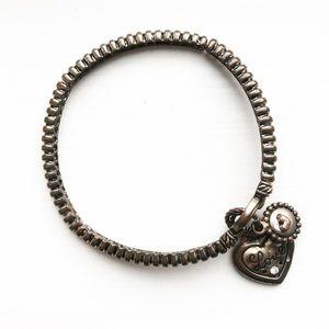 Vintage brassy gold Forever Love charm bracelet